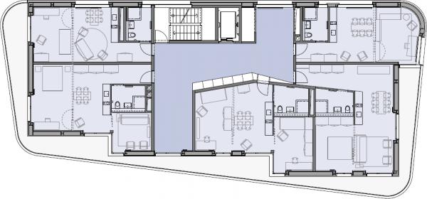 Grundriss einer Gruppenwohnung, © gesewo, Winterthur