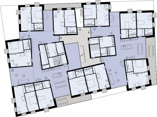 Satellitenwohnungsgrundriss, © Baugenossenschaft Mehr als Wohnen, Zürich